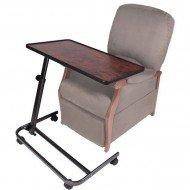 Table spéciale fauteuil releveur plateau ronce de noyer